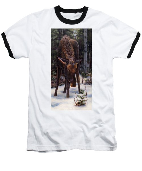 Young Moose And Pussy Willows Springtime In Alaska Wildlife Painting Baseball T-Shirt