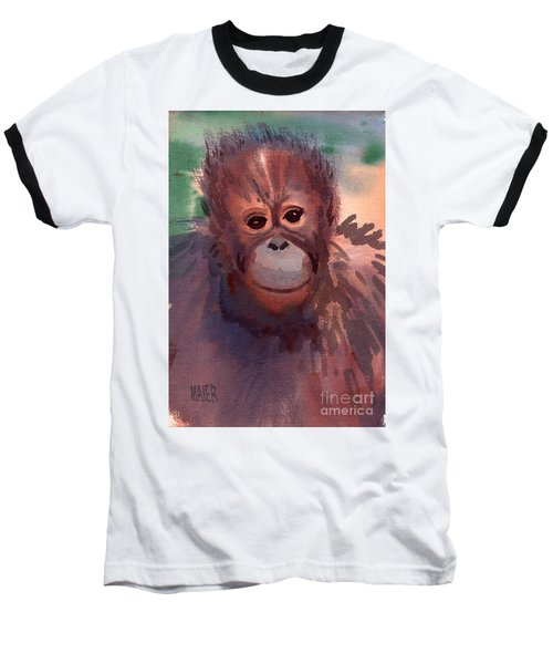 Young Orangutan Baseball T-Shirt by Donald Maier