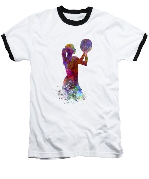 Young Woman Basketball Player 03 In Watercolor Baseball T-Shirt by Pablo Romero