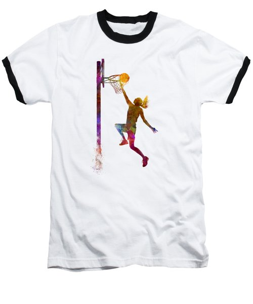 Young Woman Basketball Player 04 In Watercolor Baseball T-Shirt by Pablo Romero