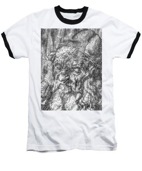 Baseball T-Shirt featuring the mixed media Yury Bashkin   Known Head by Yury Bashkin