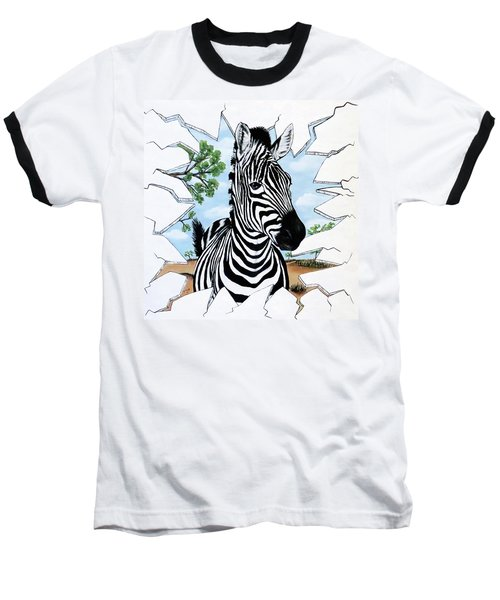 Baseball T-Shirt featuring the painting Zany Zebra by Teresa Wing