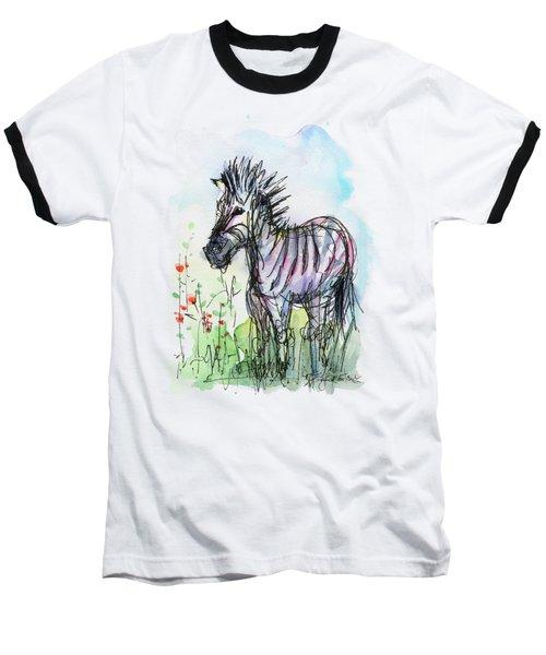 Zebra Painting Watercolor Sketch Baseball T-Shirt by Olga Shvartsur