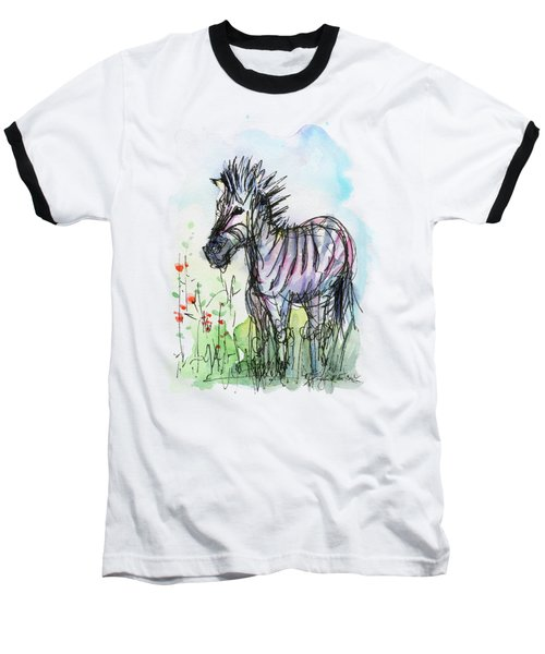 Zebra Painting Watercolor Sketch Baseball T-Shirt