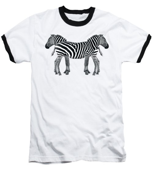 Baseball T-Shirt featuring the photograph Zebra Pair On Black by Gill Billington