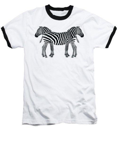Zebra Pair On Black Baseball T-Shirt