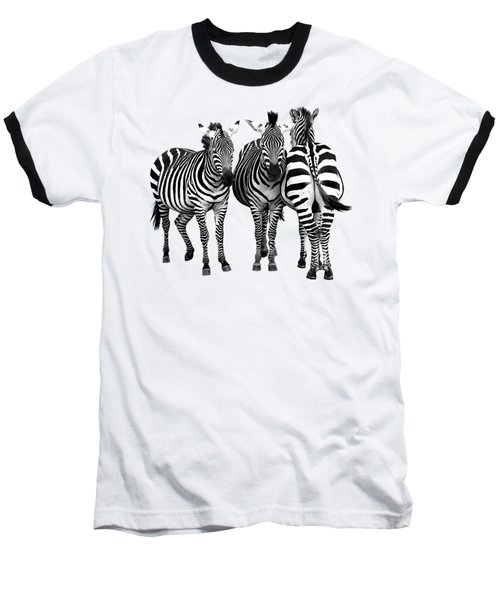 Baseball T-Shirt featuring the photograph Zebra - Three's A Crowd by Gill Billington
