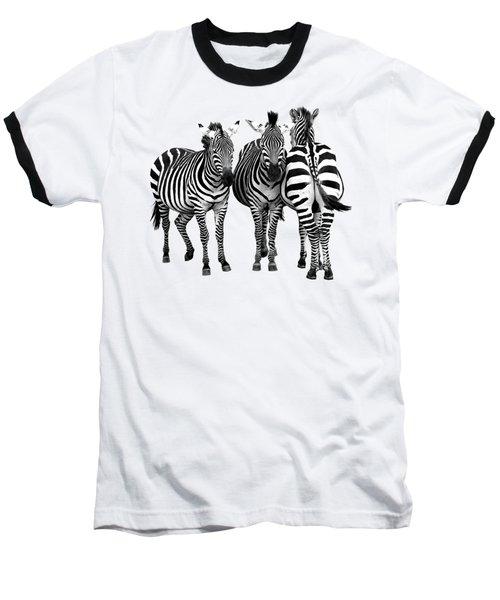Zebra - Three's A Crowd Baseball T-Shirt