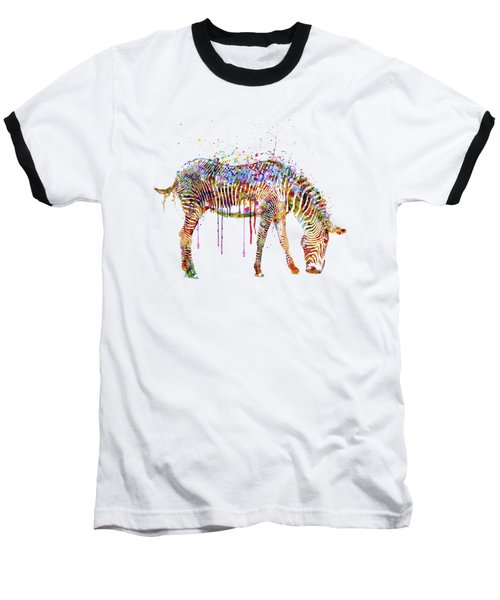 Zebra Watercolor Painting Baseball T-Shirt by Marian Voicu