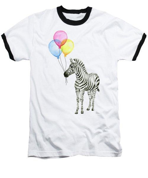 Zebra With Balloons Watercolor Whimsical Animal Baseball T-Shirt by Olga Shvartsur
