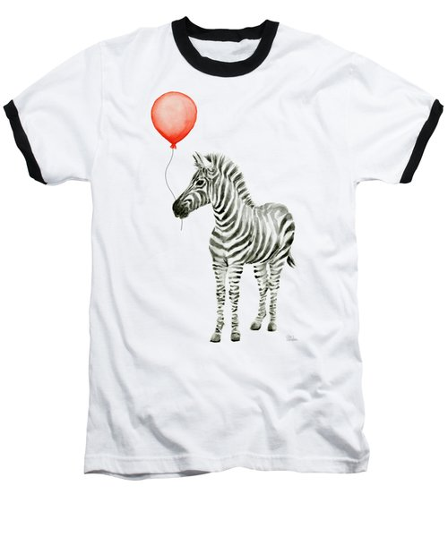 Zebra With Red Balloon Whimsical Baby Animals Baseball T-Shirt by Olga Shvartsur