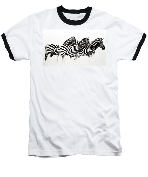 Zebras - Black And White Baseball T-Shirt