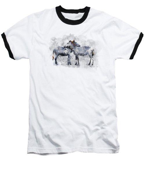 Zebras Baseball T-Shirt by Marlene Watson