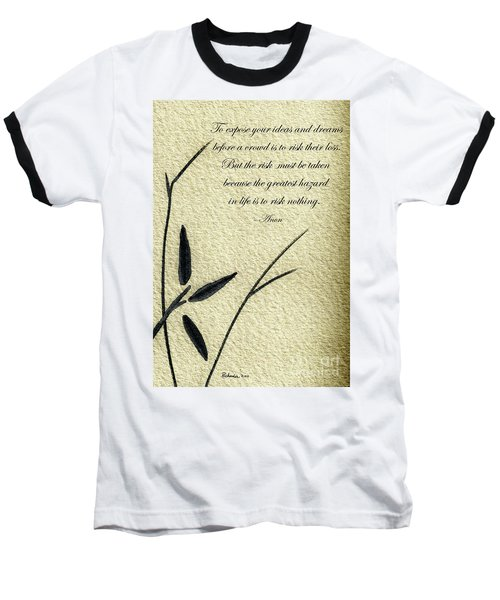 Zen Sumi 4n Antique Motivational Flower Ink On Watercolor Paper By Ricardos Baseball T-Shirt
