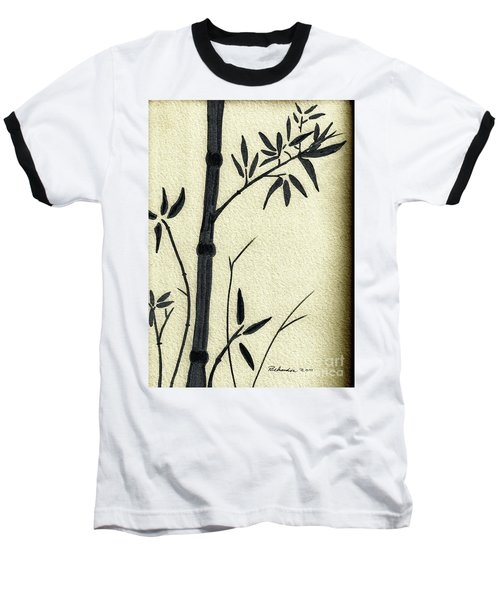 Zen Sumi Antique Bamboo 1a Black Ink On Fine Art Watercolor Paper By Ricardos Baseball T-Shirt