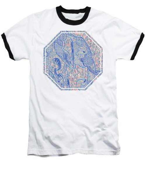 Zentangle Elephant-oil Baseball T-Shirt by Becky Herrera