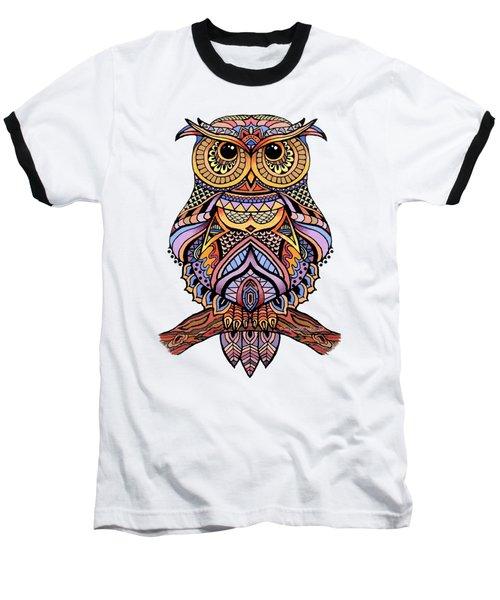 Zentangle Owl Baseball T-Shirt by Suzanne Schaefer