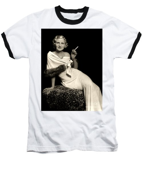 Ziegfeld Model Reclining In Evening Dress  Holding Cigarette By Alfred Cheney Johnston Baseball T-Shirt