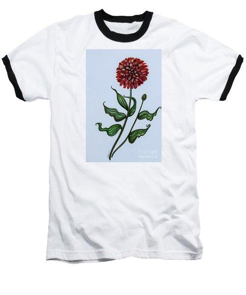 Zinnia Botanical Baseball T-Shirt by Elizabeth Robinette Tyndall