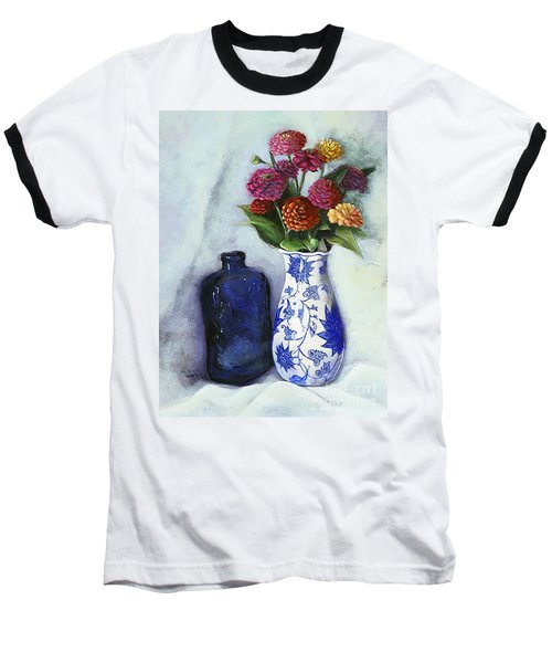 Baseball T-Shirt featuring the painting Zinnias With Blue Bottle by Marlene Book