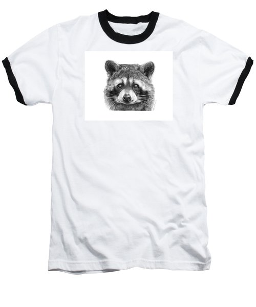 Baseball T-Shirt featuring the drawing 046 Zorro The Raccoon by Abbey Noelle