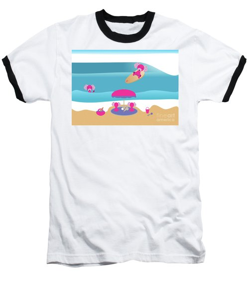 A Dog Family Surf Day Out Baseball T-Shirt