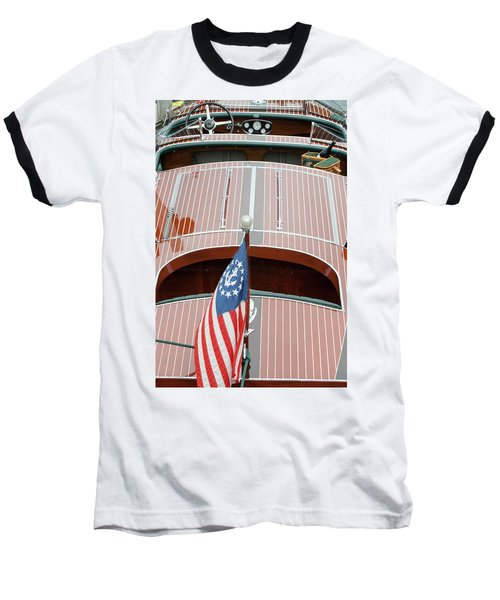 Antique Wooden Boat With Flag 1303 Baseball T-Shirt