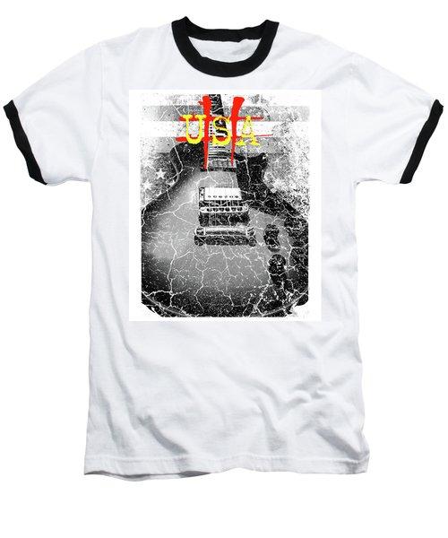 Baseball T-Shirt featuring the digital art Usa Flag Guitar Relic by Guitar Wacky