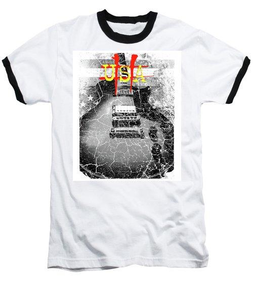 Usa Flag Guitar Relic Baseball T-Shirt