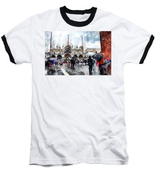 Baseball T-Shirt featuring the digital art Basilica Of Saint Mark In Venice With Watercolor Look by Eduardo Jose Accorinti