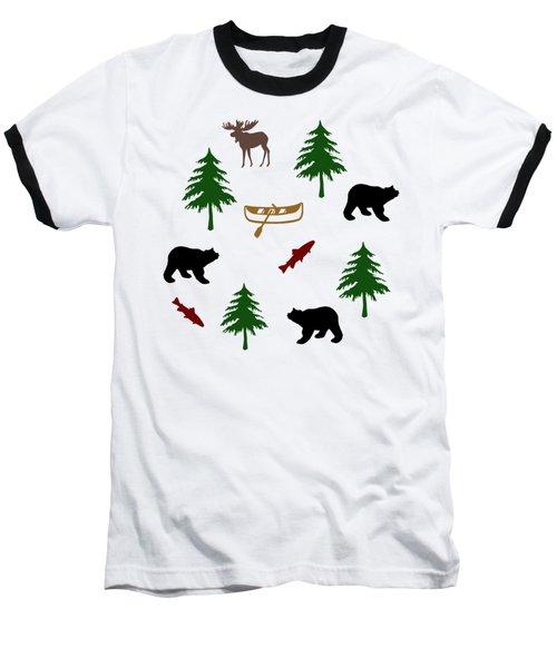 Bear Moose Pattern Baseball T-Shirt