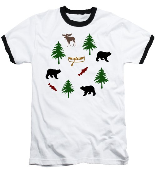 Bear Moose Pattern Baseball T-Shirt