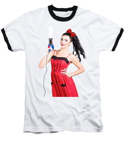 Beauty Style Portrait Of A Elegant Hairdryer Woman Baseball T-Shirt