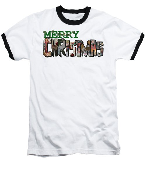 Big Letter Merry Christmas Baseball T-Shirt