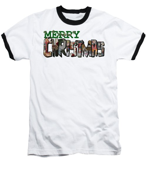 Big Letter Merry Christmas Baseball T-Shirt