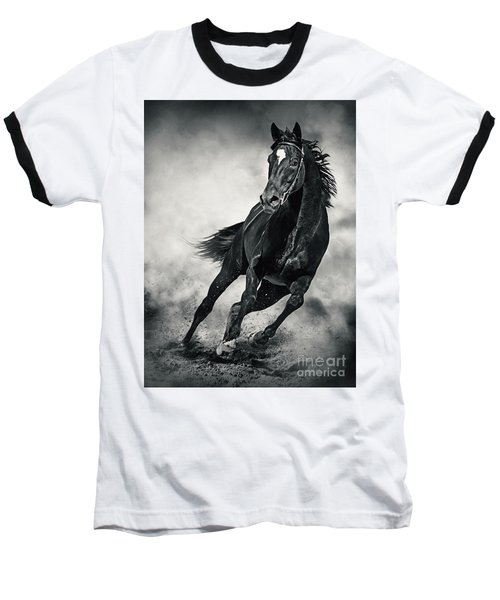 Baseball T-Shirt featuring the photograph Black Horse Running Wild Black And White by Dimitar Hristov