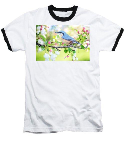 Blue Orange Bird Baseball T-Shirt