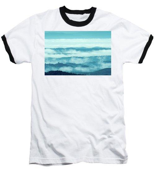 Blue Ridge Mountains Layers Upon Layers In Fog Baseball T-Shirt