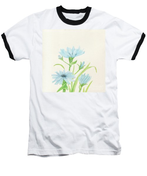 Blue Wildflowers Watercolor Baseball T-Shirt