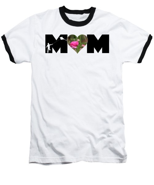 Boy Silhouette And Pink Ranunculus In Heart Mom Big Letter Baseball T-Shirt