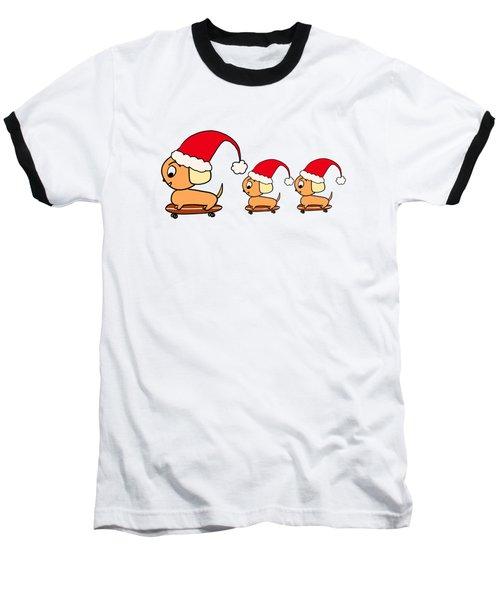 Christmas Dogs On Skateboards Baseball T-Shirt