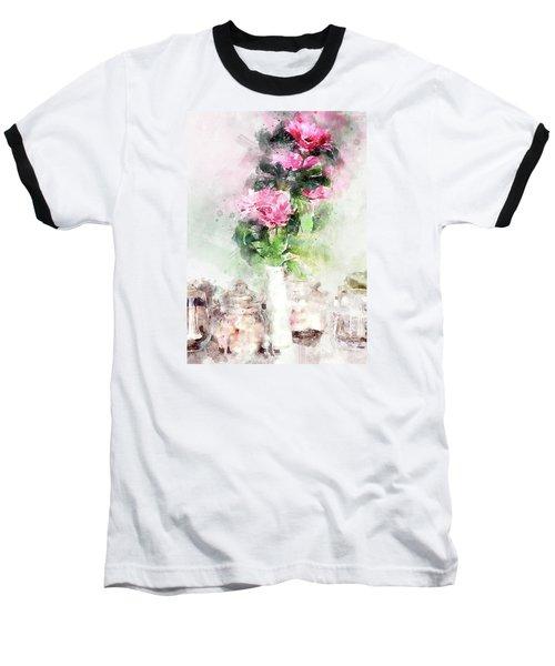 Baseball T-Shirt featuring the digital art Coffee Shop In Florence by Eduardo Jose Accorinti