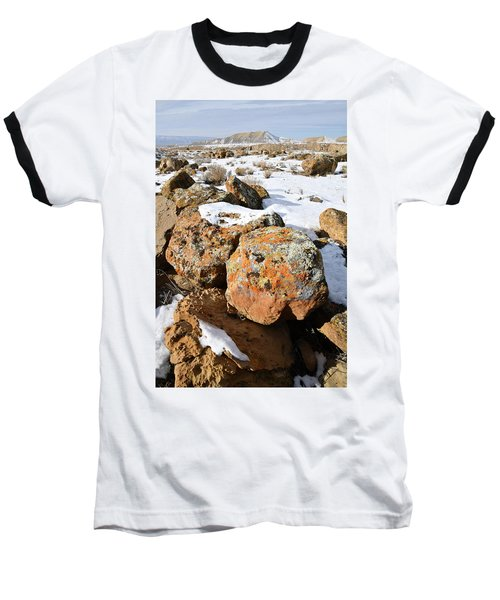 Colorful Lichen Covered Boulders In Book Cliffs Baseball T-Shirt