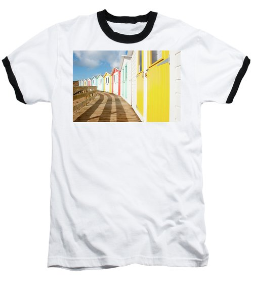 Colourful Bude Beach Huts Baseball T-Shirt