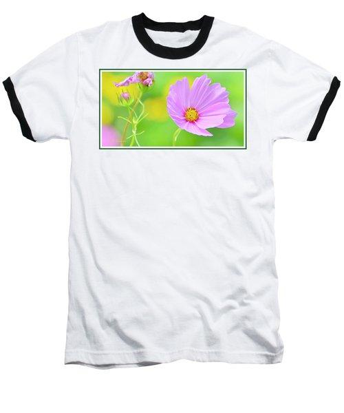 Cosmos Flower In Full Bloom, Bud Baseball T-Shirt