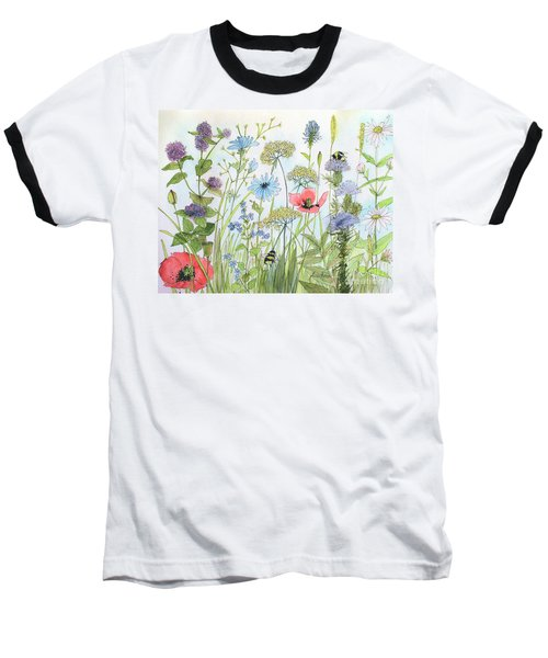 Cottage Flowers And Bees Baseball T-Shirt
