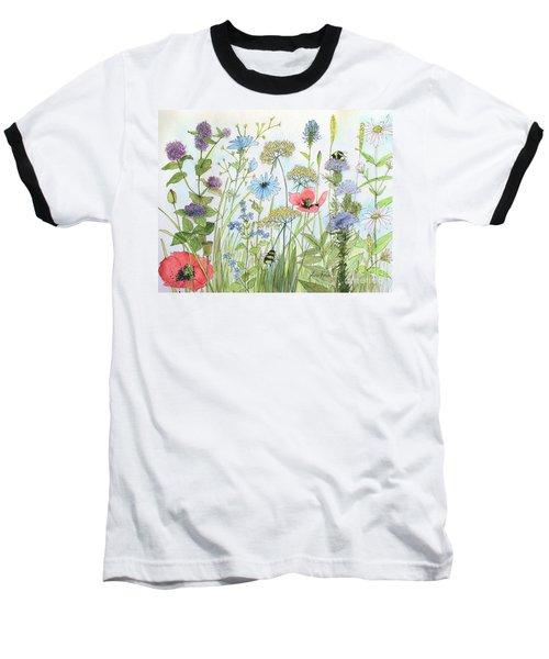 Cottage Garden Flowers Bees Nature Art  Baseball T-Shirt