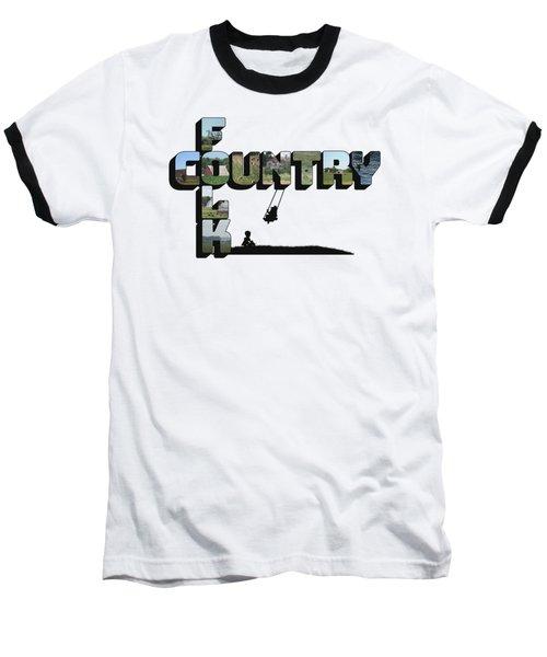 Country Folk Big Letter Graphic Art Baseball T-Shirt