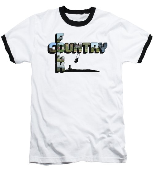 Country Folk Big Letter Graphic Art Baseball T-Shirt