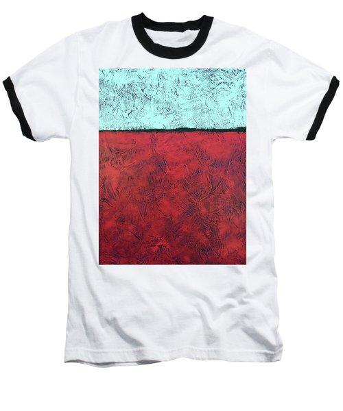 Crimson Earth Meets Pearl Sky Baseball T-Shirt
